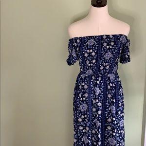 Old Navy Floral Blue Off The Shoulder Dress
